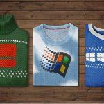 """【画像】Windowsの公式アカウントが""""寒さ対策""""として見せてくれたWindows柄のセーターが懐かしすぎるwwwww"""