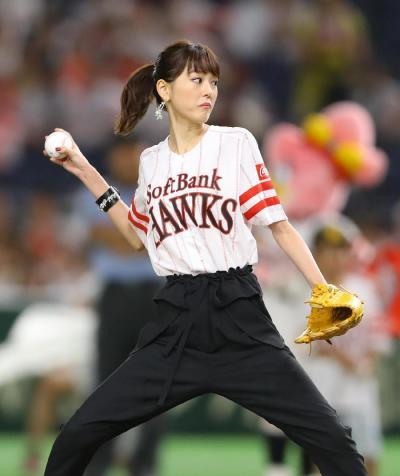 【悲報】桐谷美玲さん、始球式で鶏ガラボディを晒す